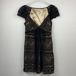 Milly Black Lace Front Tie Mini Dress, Size 4